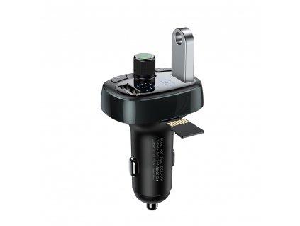 Baseus T-Type FM transmitter s USB nabíječkou 2xUSB černý CCALL-TM01