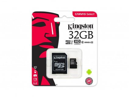 Kingston Canvas Select Micro SDHC 32GB + SD adaptér Class 10 / UHS-I / 80Mb/s