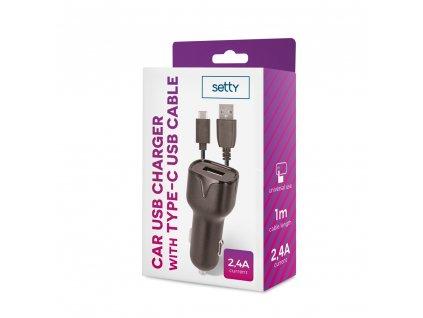 Setty USB nabíječka do auta + kabel USB-C 2,4A