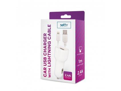 Setty USB nabíječka do auta + kabel iPhone Lightning 8pin 2,4A