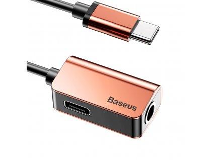 Baseus CATL40-17 adaptér pro USB-C / 3,5mm jack / USB-C rose