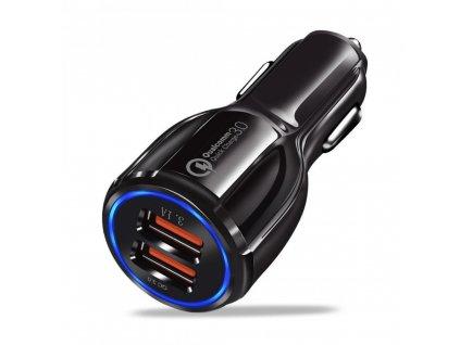 OEM univerzální nabíječka do auta s výstupem 2xUSB 3,1A / QC 3.0 černá