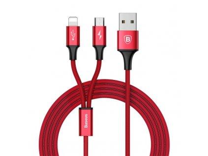 Baseus Rapid USB kabel 2v1 Micro USB / Apple Lightning 1,2m / 3A červený CAML-SU09