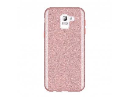 Pouzdro Glitter Case pro Samsung J600 Galaxy J6 2018 světle růžové