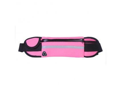 Sportovní pouzdro - ledvinka na běhání s držákem na láhev růžová