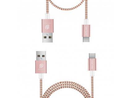 Dux Ducis K-TWO series 2x USB kabel - USB-C 1m / 2A + 0,2m / 3A růžovozlatý