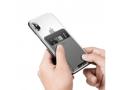 Baseus samolepící pouzdro na kreditní kartu tmavě šedé ACKD-A0G