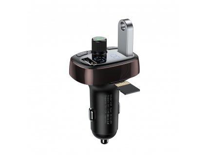 Baseus T-Type FM transmitter s USB nabíječkou 2xUSB hnědý CCALL-TM12