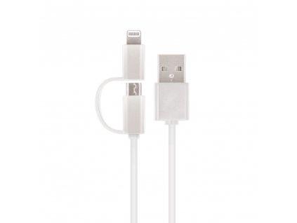 Setty USB kabel 2v1 Micro USB + Lightning - bílý