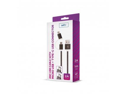 Setty USB kabel 2v1 Micro USB + USB-C - černý