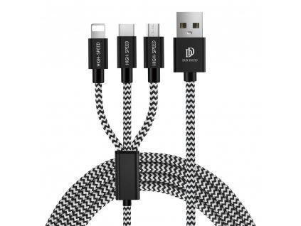 Dux Ducis K-ONE series USB kabel 3v1 - Apple Lightning / USB-C / Micro USB 1,25m / 2,4A