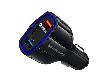 OEM univerzální nabíječka do auta s výstupem 2xUSB QC 3.0 + USB-C PD černá