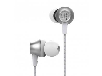 Devia Metal stereo sluchátka s mikrofonem stříbrné
