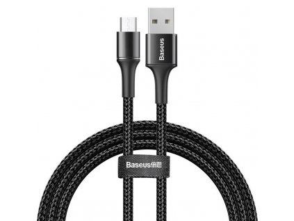 Baseus Halo svítící USB kabel - Micro USB / 3m / 2A černý CAMGH-E01