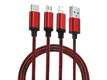PRODA PD-B31th datový kabel 3v1 Micro USB / USB-C / Lightning 2,8A / 1,15m - červený