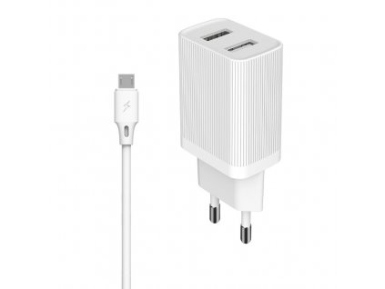 KingKong WP-U79m nabíječka 2 x USB + kabel Micro USB 1m / 2,1A bílá