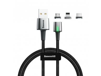 Baseus Zinc 3v1 magnetický USB kabel - Micro USB / USB-C / Lightning 3A / 1m