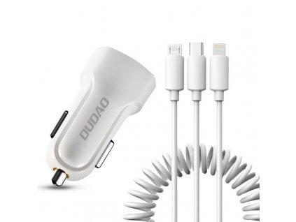 Dudao R7 USB nabíječka do auta 2x USB / 2,4A + kabel 3v1 USB-C / Micro USB / Apple bílá