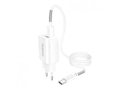 Dudao A2EU nabíječka do sítě 2x USB 5V / 2,4A + kabel USB-C bílá