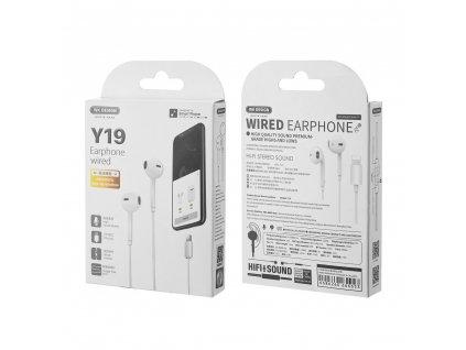 WK Design Y19 sluchátka s ovládáním EarPods pro iPhone 7 / 8 / X / Xs / Lightning konektor