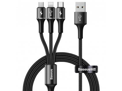 Baseus Halo USB kabel 3v1 - USB-C / Micro USB / Lightning / 1,2m / 3,5A black CAMLT-HA01