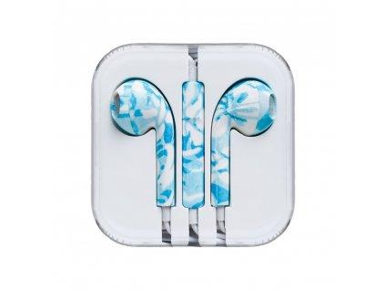 OEM sluchátka s ovládáním EarPods style pro iPhone 5/5C/5S, 6/6S, 6+/6S+ blue mramor