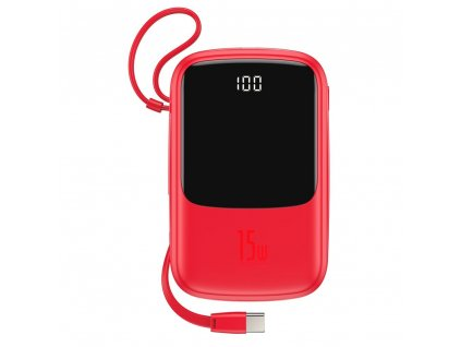 Baseus PPQD-A09 Powerbanka 2x USB + USB-C + kabel USB-C 10000mAh / 3A / 15W červená