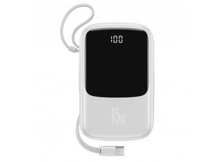 Baseus PPQD-A02 Powerbanka 2x USB + USB-C + kabel USB-C 10000mAh / 3A / 15W bílá