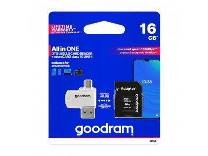 Goodram Micro SDHC 16GB Class 10 + SD adaptér + čtečka, UHS-I , 100MB/s (M1A4-0160R12)