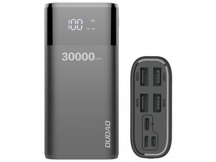 Dudao K8Max PowerBanka 30000mAh / 4xUSB / 4A s LCD displejem černá