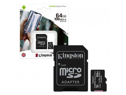 Kingston Canvas Select Plus Micro SDHC 64GB + SD adaptér Class 10 / UHS-I / 100Mb/s