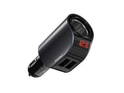 Proda PD-C25 nabíječka do auta 2x USB 2,4A + autozásuvka, LED diplej černá