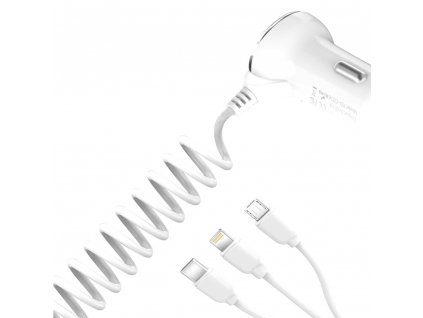 XO CC16 USB nabíječka do auta 3,1A + kabel 1,45m 3v1 USB-C / Micro USB / Apple bílá