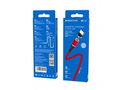 Borofone BU16 magnetický USB kabel - Micro USB 1,2m / 2,4A červený