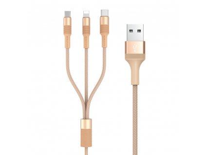 Borofone BX21 USB kabel 3v1 - iPhone lightning / USB-C / Micro USB 1m / 2,4A zlatý