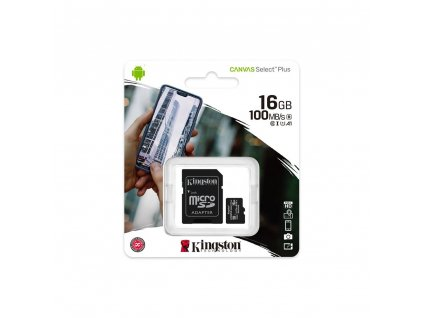 Kingston Canvas Select Plus Micro SDHC 16GB + SD adaptér Class 10 / UHS-I / 100Mb/s