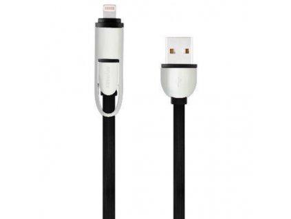 MyMax USB kabel 2v1 Micro USB + Lightning - černý