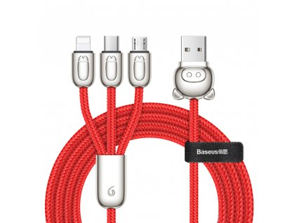 Baseus Little Pig USB kabel 3v1 Apple Lightning / Micro USB / USB-C 1,2m / 3,5A červený
