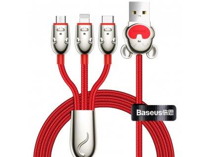 Baseus Mouse USB kabel 3v1 Apple Lightning / Micro USB / USB-C 1,2m / 3,5A červený