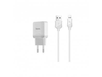 HOCO C22A nabíječka s kabelem iPhone Lightning / 2,4A bílá