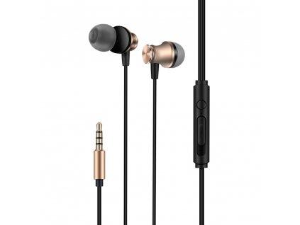 XO S20 handsfree sluchátka s kabelem a ovladačem 3,5mm jack - zlaté