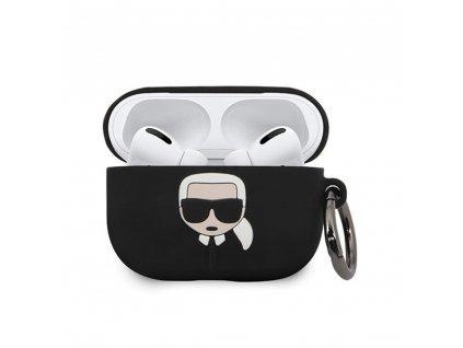 Karl Lagerfeld silikonové pouzdro pro Apple AirPods PRO černé KLACAPSILGLBK