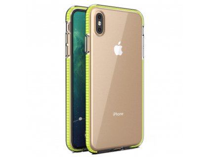 Spring Case TPU pouzdro pro Apple iPhone Xs MAX clear / yellow