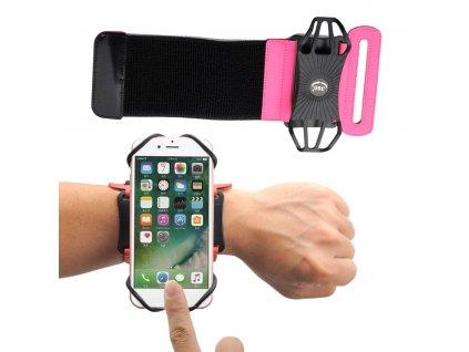 """Armband univerzální pouzdro na běhání zápěstí / paže pro telefony do 6"""" - růžové"""