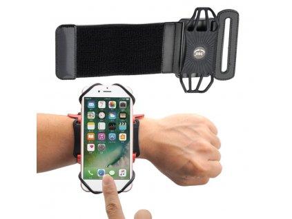 """Armband univerzální pouzdro na běhání zápěstí / paže pro telefony do 6"""" - černé"""