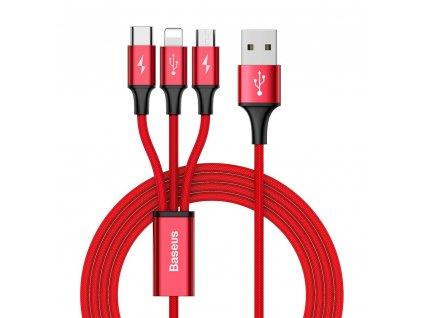 Baseus Rapid USB kabel 3v1 Apple Lightning / Micro USB / USB-C 1,2m, 3A červený CAMLT-SU09