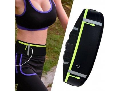 Sportovní pouzdro - ledvinka na běhání s prostupem na sluchátka černá