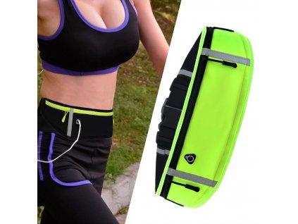 Sportovní pouzdro - ledvinka na běhání s prostupem na sluchátka zelená