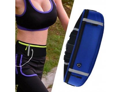 Sportovní pouzdro - ledvinka na běhání s prostupem na sluchátka modrá