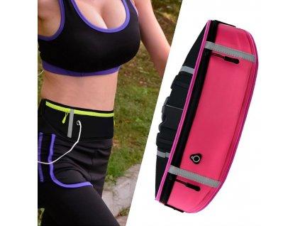 Sportovní pouzdro - ledvinka na běhání s prostupem na sluchátka růžová